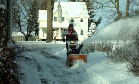 picture of John snow blowing off north driveway